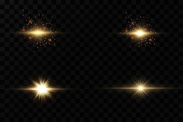Набор желтого светящегося света взрывается на прозрачном фоне сверкающие магические частицы пыли. звезда взорвалась блестками. золотой глиттер яркая звезда. прозрачное сияющее солнце, яркая вспышка.