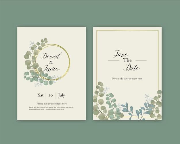 ユーカリの結婚式の招待状。優しい招待状