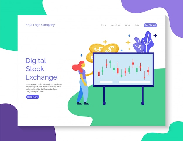 ランディングページのテンプレート。ウェブサイトのためのデジタル証券取引所ベクトル。