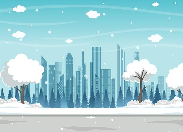 Зимний городской парк со снегом и современный городской фон