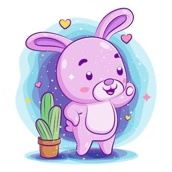 庭で遊ぶかわいい赤ちゃんウサギ