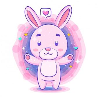愛のかわいいキャラクターのかわいいウサギ