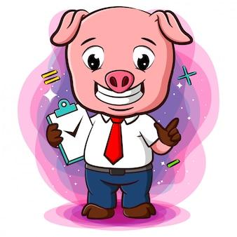 チェックリストとやることリストが付いた豚用スタンド