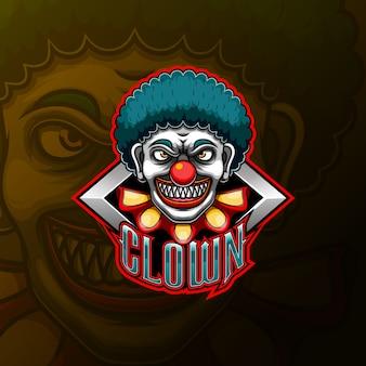 Страшный клоун талисман и спортивный дизайн логотипа