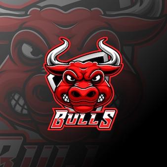 Талисман с головой быка и спортивный дизайн логотипа