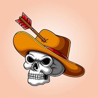革の帽子と怖い人間のカウボーイスカル