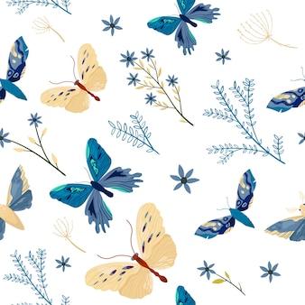 トレンディな色でカラフルな蝶のシームレスパターン