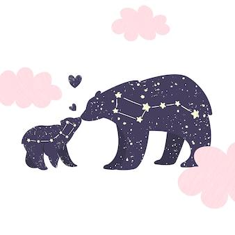 Созвездие большого медведя и маленького медведя в ночном звездном небе.