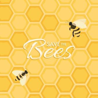 Сохранить дизайн пчел. открытка или постер мотив.