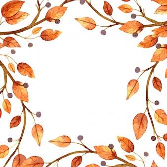 水彩の秋の葉のフレーム。