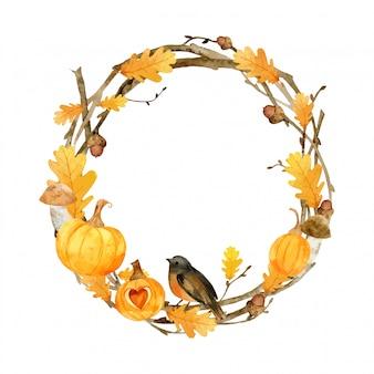 葉と水彩の秋フレーム。