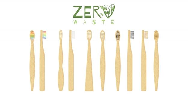 さまざまな種類の毛を使った竹の歯ブラシケア。
