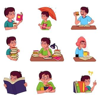 Векторные иллюстрации шаржа мальчика с книгами.