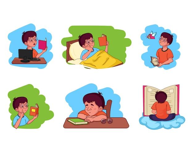 Иллюстрация шаржа вектора книги чтения мальчика.