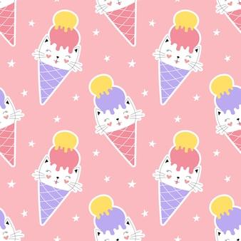 Милый бесшовный образец сладкий котенок в конусе мороженого.