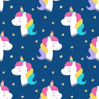 シームレスなかわいいパターン、ユニコーンの魔法の頭、小さな馬