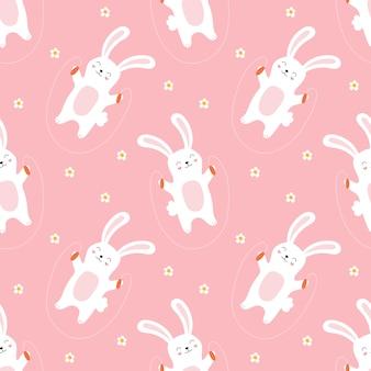 子供のための縄跳びかわいいウサギのシームレスなパターン。