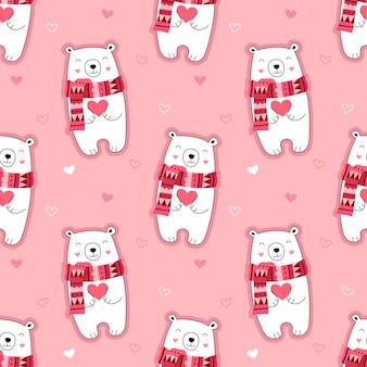 Безшовная милая картина, полярный медведь, сердца, любовник, валентинка, медведь в шарфе, зима, день валентинок.