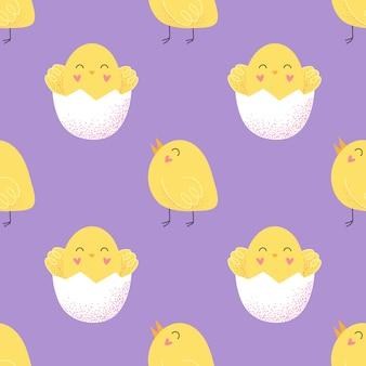 ハッピーイースターの日。小さな鶏のシームレスなパターン。