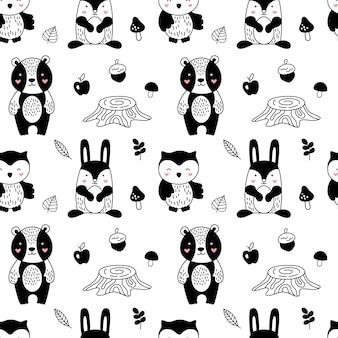 子供のためのスカンジナビアスタイルの森林動物パターン。