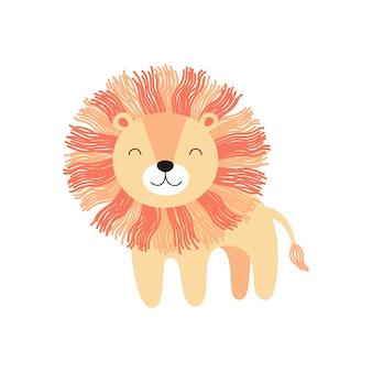 北欧風のかわいい漫画ライオン、子供のための手描きイラスト