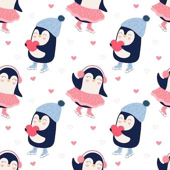 かわいいペンギンアイススケートカップルのシームレスパターン。