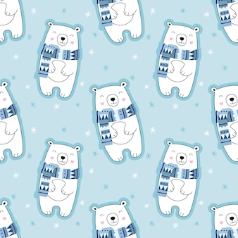 シームレスなかわいいパターン、シロクマ、雪、雪、スカーフのクマ、冬。