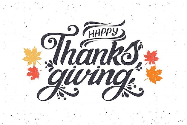 幸せな感謝祭のタイポグラフィ、グリーティングカード