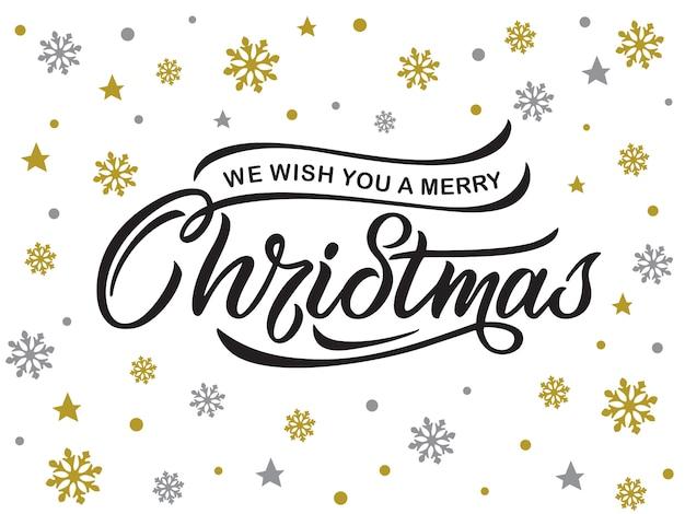 Счастливого рождества типография дизайн поздравительных открыток