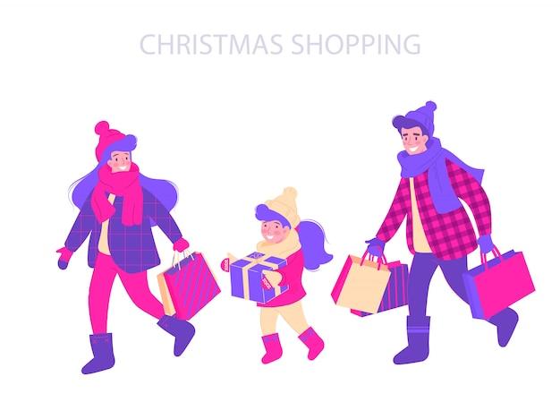 クリスマスショッピングタイポグラフィデザインイラスト。