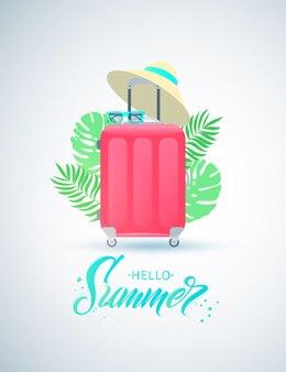 こんにちは夏の手書きレタリング。麦わら帽子とサングラスの赤い旅行スーツケース。熱帯植物の葉。フラットなデザイン。