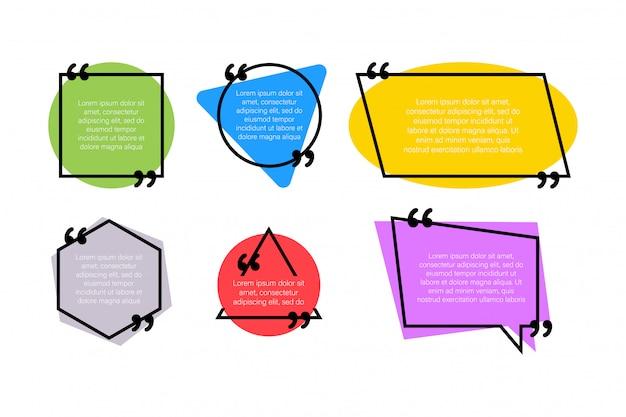 デザイン要素の引用を設定します。コンマ。白のフラットスタイルのベクトル図