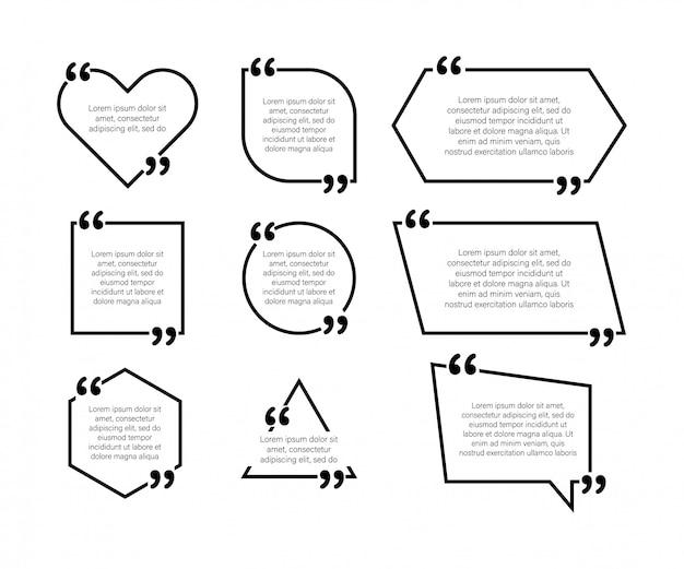 Задать элементы дизайна цитаты. запятые. векторная иллюстрация в плоском стиле на белом