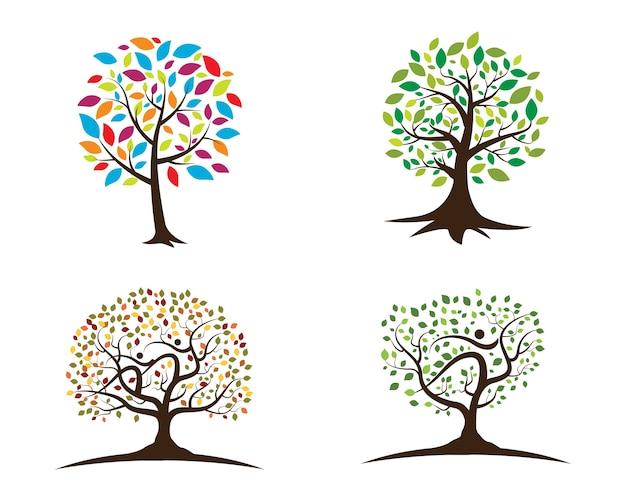 緑の木の葉の生態系のロゴ
