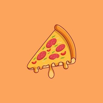 ピザのアイコン。ファーストフードのコレクション。孤立した食品アイコン