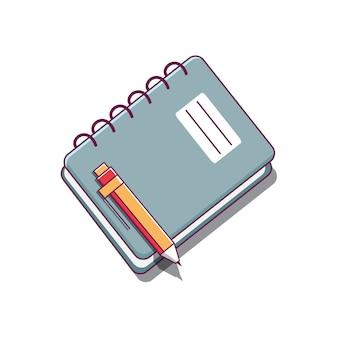 本のイラストとペン、孤立した本のアイコン