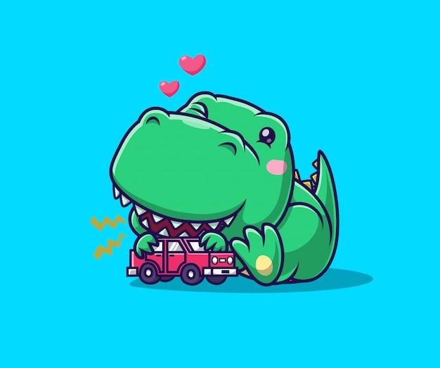 おもちゃの車で遊ぶかわいい恐竜。恐竜のマスコットの漫画のキャラクター。