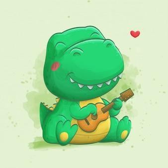 ギターを弾くかわいい恐竜。水彩イラスト。