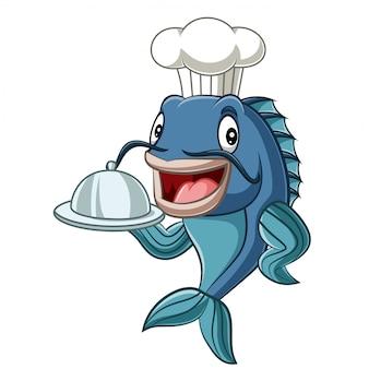 Мультфильм шеф-повар рыба держит поднос