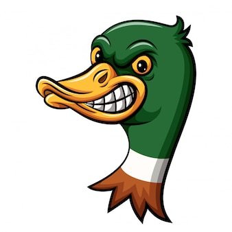 怒っているアヒルの頭のマスコットデザイン