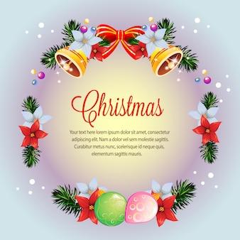サークルの花輪カラフルなクリスマスのポインセチアカード