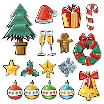 Ручной обращается рождественский элемент каракули стиль