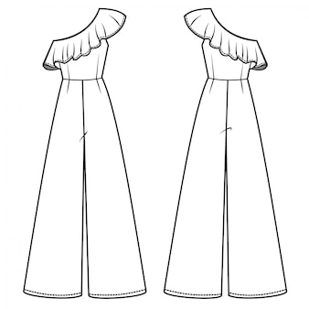 Шаблон эскиза модного комбинезона