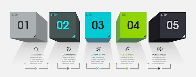 Шаблон инфографики с шагами