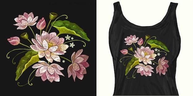 クラシック刺繍ピンクの蓮、睡蓮