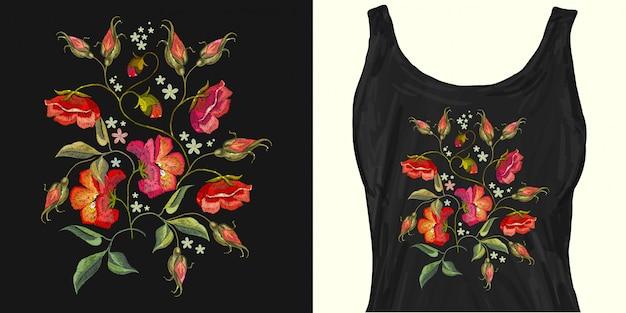 刺繍バラの花。トレンディなアパレルデザイン