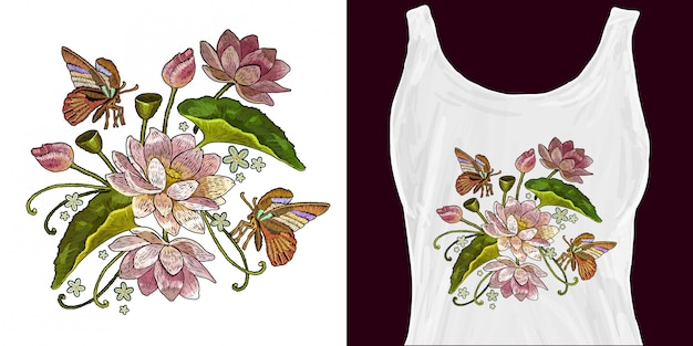 Классическая вышивка розовых лотосов