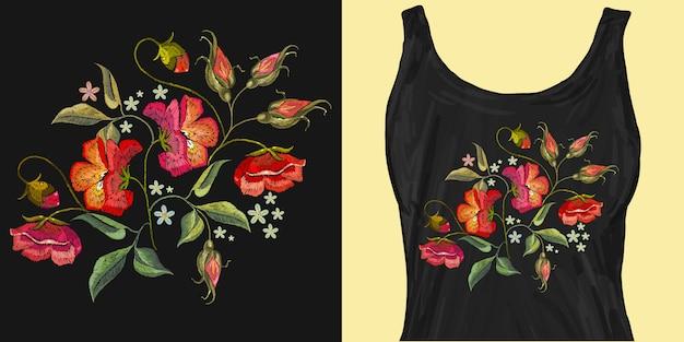 刺繍の赤いケシの花
