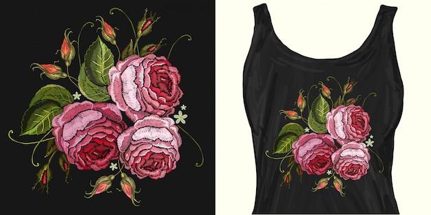 刺繍。美しいピンクのバラ