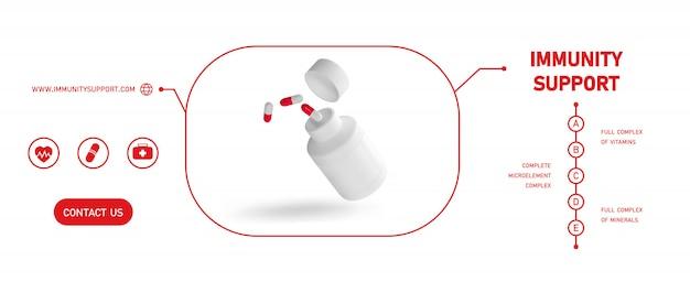 Бутылка пустой пластиковой упаковки медицины открытая с крышкой для изолированных таблеток. био добавки или витамины. реалистичная пластиковая бутылка. шаблон. аптека, таблетки, таблетки.